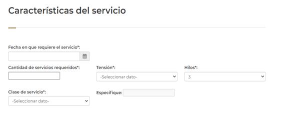 solicitud del servicio
